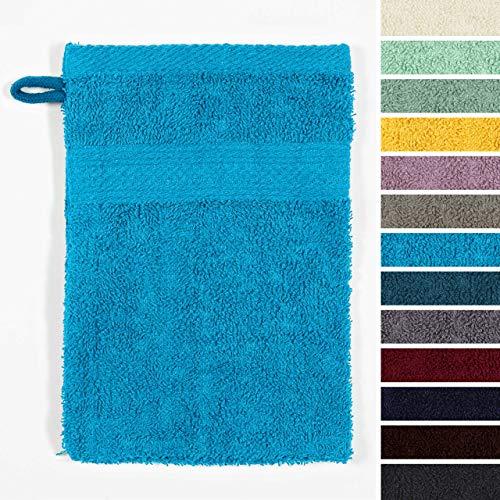 Lumaland Premium 10er Set Waschlappen Waschhandschuhe Baby Waschlappen Frottee 16 x 21 cm aus 100% Baumwolle 500 g/m² mit Aufhänger türkis