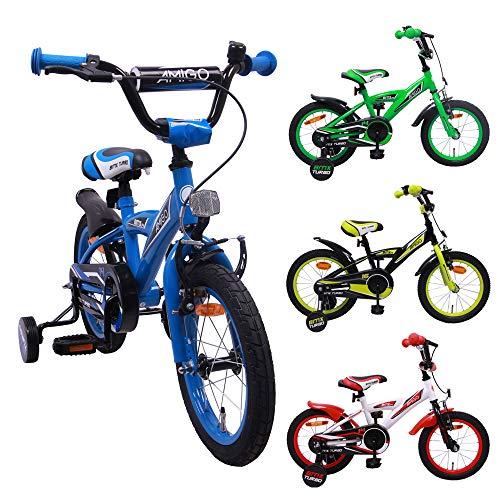 amiGO BMX Turbo - Kinderfahrrad - 14 Zoll - Jungen - mit Rücktritt und Stützräder - ab 3 Jahre - Blau