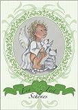 Im 5er Set: Süße Weihnachtskarte: Ein schönes Fest wünscht dieser niedliche blonde Engel, grün