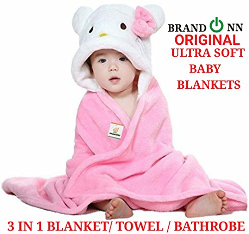 BRANDONN Fannel Cotton Ultra Soft Organic Baby Bathrobe, 33x35-inch (Pink-White)