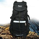 Wander-Rucksack von Femo mit 50 L Fassungsvermögen, aus wasserdichtem Nylon, Trekking-Tasche für Damen und Herren, schwarz