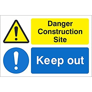 Warning Construction Site Keep Out, Safety Sign. 300mm x 200mm Rigid Plastic
