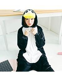 CWJ Unisex Pijamas para Adultos - Peluche de una Pieza Cosplay Traje Animal Espesamiento de Invierno,Pingüino,L
