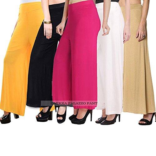 Omikka Comfort Fit Malia Lycra Plain Pant Palazzo/for Women's Combo Pack-5 (Free...