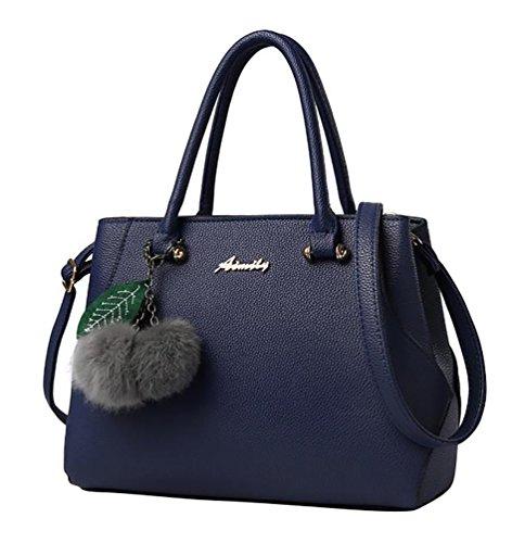 Baymate Damen Handtaschen Umhängetaschen Kunstleder Mode Large Tote mit Plüsch Anhänger Dunkel Blau