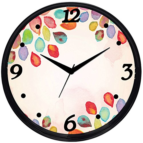 Cartoonpur Round Large Designer Decorative Watercolour Art 2 Wall Clock - Ticking 11-Inch Wall Clock for Home / Bedroom / Living Room / Kitchen