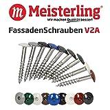 Meisterling® FassadenSchrauben 4,8 x 32 mm in V2a Edelstahl / INOX, mit farbig einbrennlackiertem Flachkopf und Torx-Aufnahme T-20, (pro 100 Stück inkl. 1 Bit), weiß (ähnlich RAL 9010), 4,8 x 32 mm in V2a
