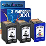 Farbset 3x Tinten-Patrone für HP-21 XL & HP-22 XL Deskjet F2180 F350 F370 F375 F380 F385 F90 F394 F4100 F4135 PlatinumSerie
