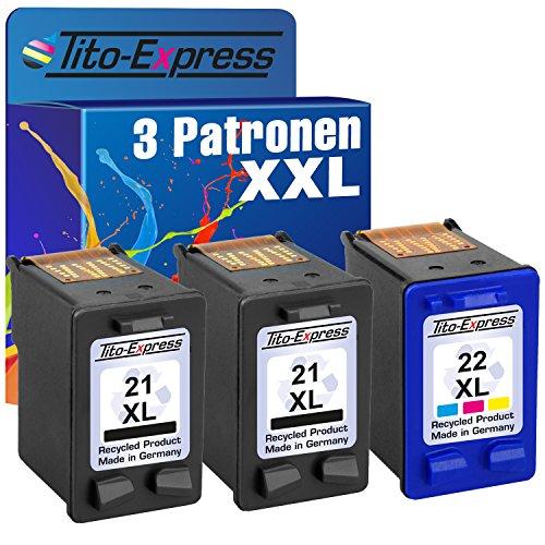 Farbset 3x Tinten-Patrone für HP-21 XL & HP-22 XL Deskjet F2180 F350...