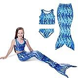 KINDOYO Filles Étoiles Océan Maillots de bain Sirène Maillots de bain Shell 3pcs Bikini Sets