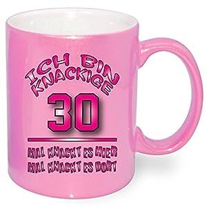 Pink Metallic Effekt Tasse zum Geburtstag * Knackige 30 * Alle Alterzahlen verfügbar