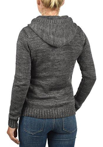 DESIRES Philla Damen Strickpullover mit Kapuze aus hochwertiger 100% Baumwolle Meliert Dark Grey (2890)