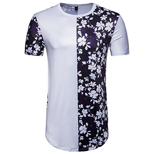 Hoodie Hawaii-print (T Shirt Herren Kurzarm T-Shirt Casual Patchwork Blumendruck Sommer Pullover Top Bluse Longshirt mit Rundhals (M, Weiß))