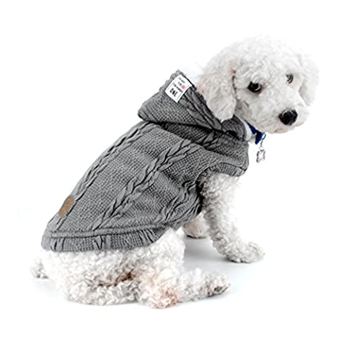 SMALLLEE_LUCKY_STORE Dog Padded Vest Coat Cold Weather Jacket Chihuahua Hoodies Dog Cat Winter Coat Boy Pet Clothes for Small Dogs Warm Apparel Gray