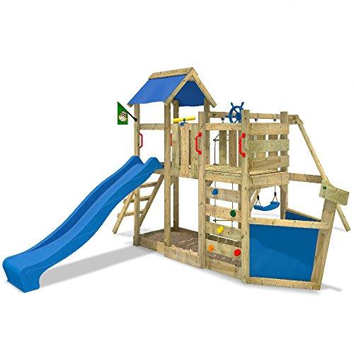 WICKEY Spielturm OceanFlyer Kletterturm mit Rutsche, Schaukel Kletterwand und Sandkasten, blaue Rutsche + blaue Plane