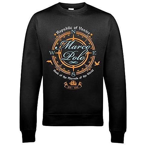 5002 Marco Polo Herren Sweatshirt Explorer Adventure Classic Travels Ship World Captain Sea Ocean(XX-Large,Black)