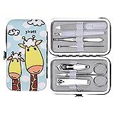 Manicure Set, set di manicure longmiao per manicure in acciaio inossidabile Manicure personale e pedicure set 7 in 1 con stampa giraffa