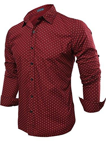 Neleus Uomo Wovens Slim Fit Maniche Lunghe Camicia Casual,23# Burgundy & Red,Eur M