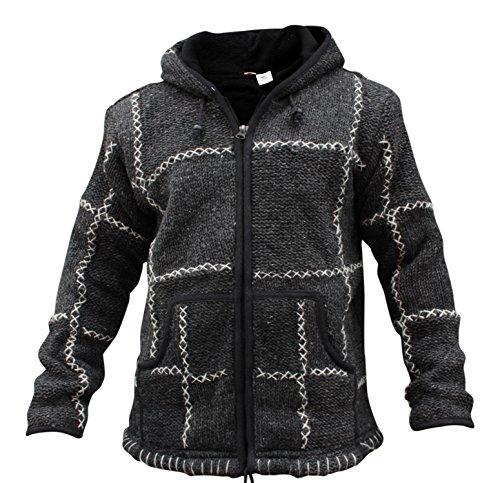 Shopoholic FASHION HERREN 100% Wolle gestrickt Hippy Kapuzenpulli Reißverschluss Jacke Dunkelgrau