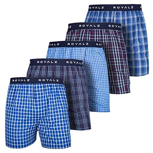 ROYALZ 5er Pack Boxershorts American Style für Herren Männer Unterhosen Kariert Blau klassisch 5 Set Jungen Unterwäsche weit, Größe:L, Farbe:Set 001 (5er Pack - Mehrfarbig)