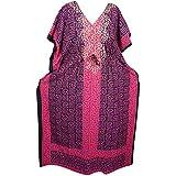 Mogul Interior Womens Kaftan Caftan Maxi Dress Batik Print Kimono Sleeves Cotton House Dress Onesize