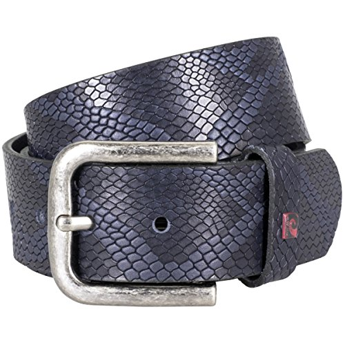 Pierre Cardin Mens leather belt / Mens belt, full grain leather belt with embossing, navy Bleu
