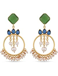 Tistabene Retails Contemporary Colored Stones And Pearls Earring | Gold Plated Colored Stone Dangler Earring |...