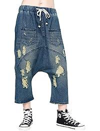 Jeans Rasgados De Taille con Hipster Elegantes Mujer Elastische Correas  Cruzadas Pantalones Harem Festivo Fashion Casual 22131063b4d