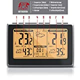 CSL – Funkwetterstation mit LCD Farbdisplay | Wetterstation inkl. Außensensor | DCF-Empfangssignal | Innen- und Außentemperatur / Wettervorhersage-Piktogramm / Tendenzanzeige uvm. | IP34 (Außensensor) - 3