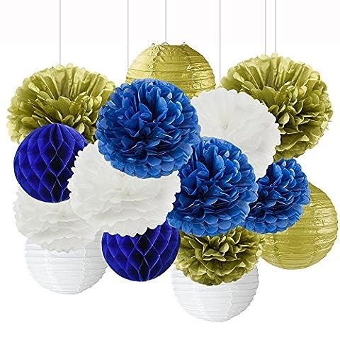 Bleu marine Or blanc fête Fleur en papier papier de
