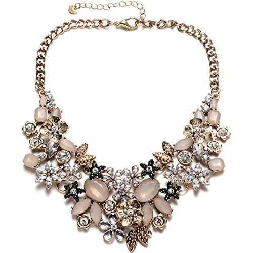 Cadena de collar de tono dorado vintage brillante cristal