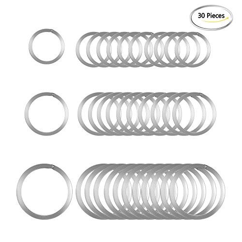 Preisvergleich Produktbild 30Stück Schlüssel Kette Ringe Rund Metall flach Split Ring für Home Auto Schlüssel Organisation, 3/10,2cm, 2,5cm und 3,2cm, silber