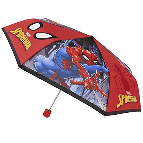 Marvel Spiderman Kinderschirm - Kleine Regenschirm für Jungen aus der Spinne - Leichter und windfester Schirm - Blau und Rot - Durchmesser 89 cm - 8+ Jahre - Perletti