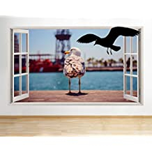 G361gabbiano uccello Ocean Coast Cool finestra decalcomania da parete adesivi 3D Art Vinyl Room