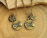 Personalisierte Initiale Halskette /Armband Hand in Hand, Herz zu Herz, Beste Freund Halskette /Armband Set, Freund GirlFriend Geschenk, Weihnachtsgeschenke, Couples Geschenk
