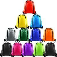 FEPITO 12 Pack Drawstring Bags String Backpack Bulk Tote Sack Cinch Bag Sport Bags for Gym Traveling