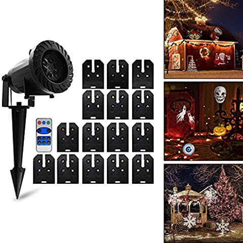 Lampe de projection, lampe de projecteur Vansky® LED avec 15 modèles interchangeables et télécommande RF, IP 65 imperméable à l'eau Lumière de fête, lumière de jardin, lumière de jardin pour maison, jardin, paysage, fêtes et fêtes, noël, carnaval