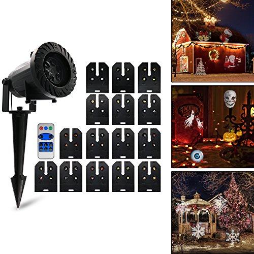 Projektionslampe, Vansky® LED Projektor Lampe mit 15 Austauschbare Patterns und RF-Fernbedienung, IP 65 wasserdicht | Party Licht, Gartenleuchte, Gartenlicht für Festen, Weihnachten, (Halloween Ideen Draußen Für)