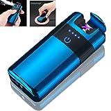 becrowmeu kabellos wiederaufladbar Elektronische Doppel Arc Plasma Feuerzeug-Zigarettenanzünder Flammenlose winddicht, USB-Kabel, elegantes Geschenk-Box, blau