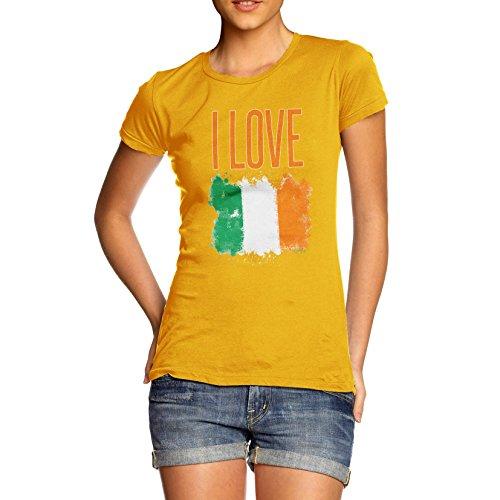 Damen I Love Ireland T-Shirt Gelb