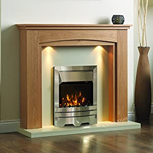 Electric Oak Surround Cream Ivory Silver LED Flame 2kW Fire Wall Fireplace Suite Lights Downlights 48""
