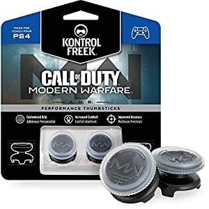 KontrolFreek Call of Duty: Modern Warfare – A.D.S. Performance Thumbsticks für PlayStation 4 (PS4) | 2 x Hoch, Konkav | Transparent/Schwarz