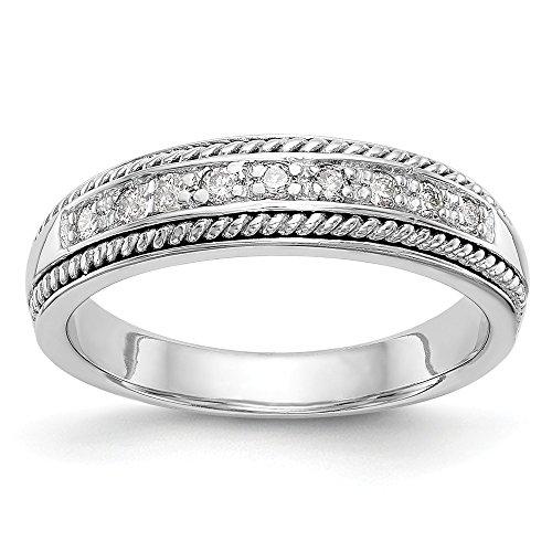 Ehering 14 Karat Weißgold 0,135 Karat Diamant Rundschliff H-SI2 Größe 7 (Männer Eheringe Größe 14)