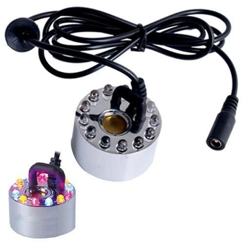 TOOGOO(R) Ultraschall-Nebel-Hersteller Wasser-Brunnen-Teich-12 LED