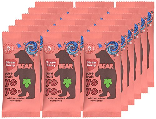 BEAR Strawberry Pure Fruit Yoyos 20g (Pack of 18)