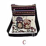 QinMM Bestickte Eule Tragetaschen Frauen Umhängetasche Handtaschen Postman Paket Kleine Körper Taschen Geldbörse Brusttasche Leinen (C)