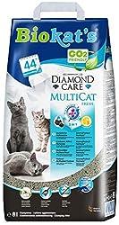 Biokat's Diamond Care Multicat Fresh Katzenstreu mit Duft, staubfreie Klumpstreu mit Aktivkohle und Cotton Blossom Duft, 1 Papierbeutel (1 x 8 L)