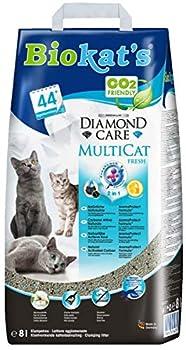 Biokat?s Diamond Care Multicat Fresh, litière pour chats parfumée ? Litière agglomérante sans poussière au charbon actif, parfum fleur de coton ? 1sac en papier (1 x 8l)