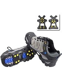 Triwonder Ice Grips 10 Dientes Antideslizante Zapato / Bota Ice Traction Slip-on Snow Puntas de hielo Crampones Calas Estiramiento de la tracción del calzado (Negro, L (EUR:42-45))