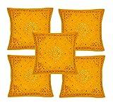 Rajasthali Indischen ethnischen Handgefertigtes Kissen mit Stickerei & Spiegel Arbeit 5 Stück, 43 X...